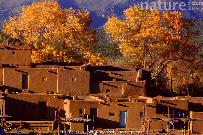 Taos Pueblo (nearly 1000 years old). New Mexico, USA  ,  VILLAGES,BUILDINGS,PUEBLO,CULTURES,TRADITIONAL,HORIZONTAL,NORTH AMERICA,TREES,OLD,TAOS,PLANTS,USA,CENTRAL-AMERICA  ,  John Cancalosi