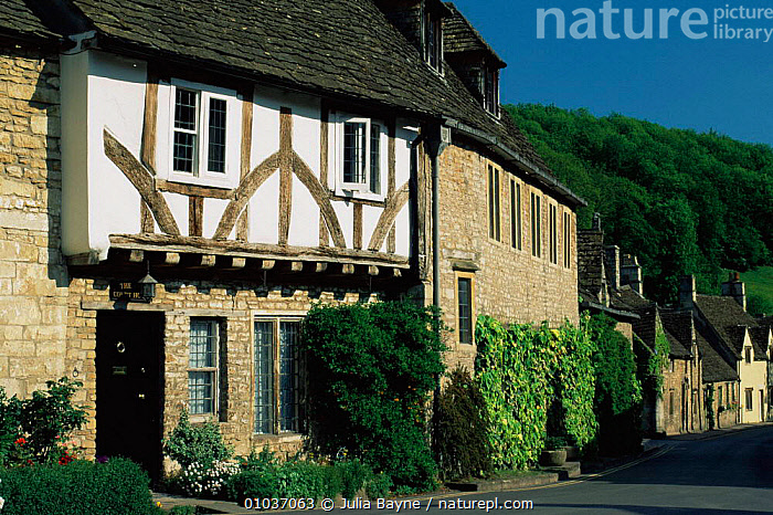 Timber and stone cottage in traditional English village, Castle Combe, Wiltshire, UK  ,  BUILDINGS,ENGLAND,EUROPE,UK,VILLAGES,United Kingdom,British  ,  Julia Bayne