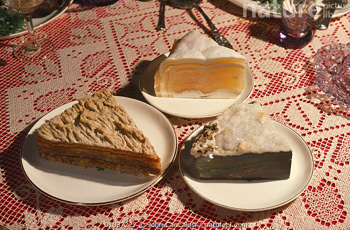 Rocks looking like slices of pie made of various rocks and minerals, Banquet of Rocks collection, USA  ,  COLLECTION,MINERALS,NORTH AMERICA,PEOPLE,ROCKS,USA,WEIRD  ,  John Cancalosi