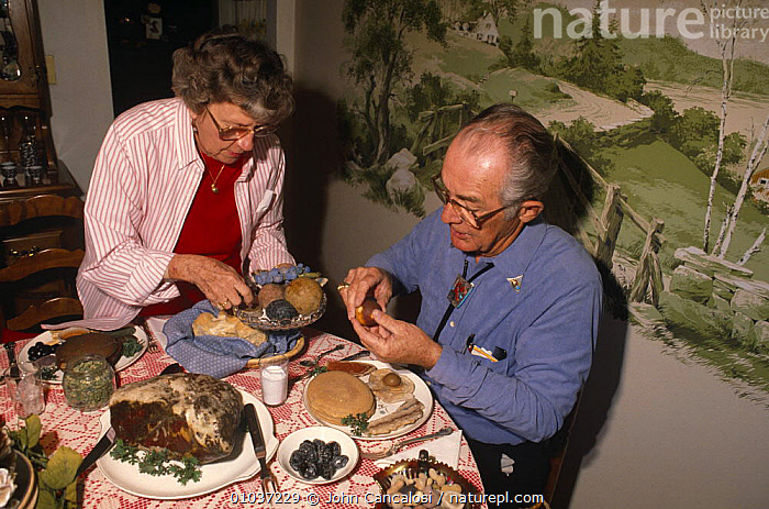 Mr & Mrs Nixon at their banquet of rocks collection, USA  ,  COLLECTION,FEMALES,MALES,MEN,NORTH AMERICA,PEOPLE,ROCKS,USA,WEIRD,WOMEN  ,  John Cancalosi