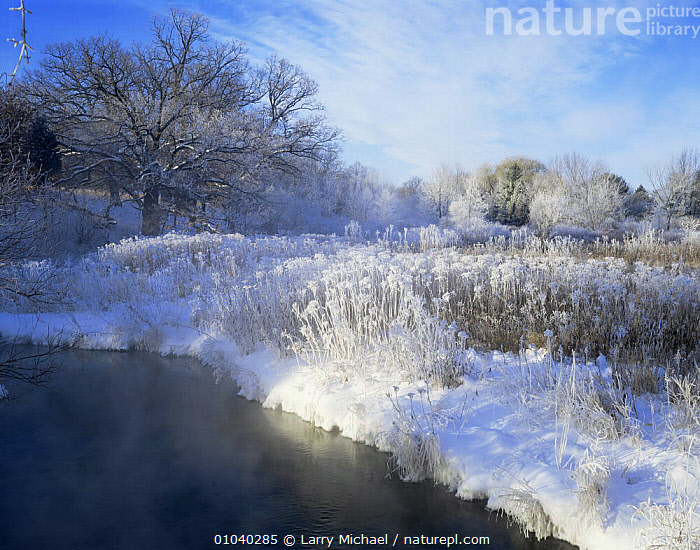Scuppernong creek in winter snow, Wisconsin, USA  ,  FROST,FROSTY,FROZEN,ICE,LANDSCAPES,NORTH AMERICA,RIVERS,SNOW,USA,WATER,WINTER,Weather  ,  Larry Michael