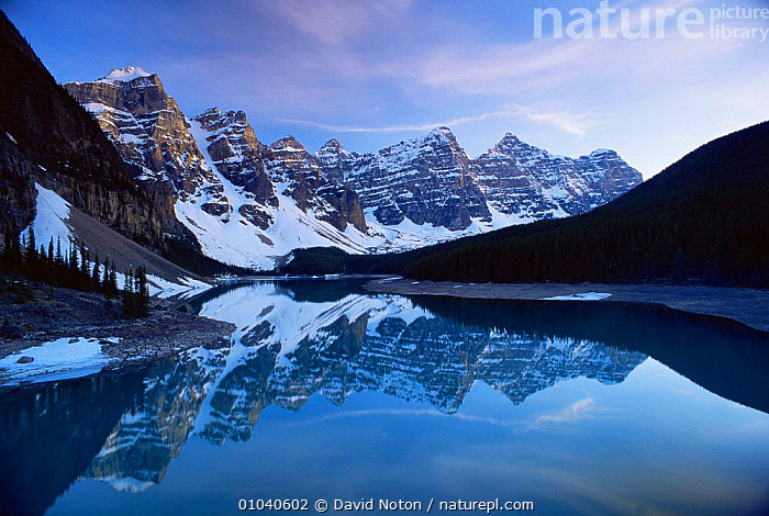 Peaceful reflections in Morraine lake, Banff NP, Alberta, Canada  ,  Calm,CANADA,HIGHLANDS,LANDSCAPES,NORTH AMERICA,NP,PEACEFUL,rockies,Rocky,WATER,Concepts,National Park,,Canadian Rocky Mountain Parks World Heritage Site, UNESCO World Heritage Site,Rocky Mountains,Rockies,NP,Reserve,  ,  David Noton