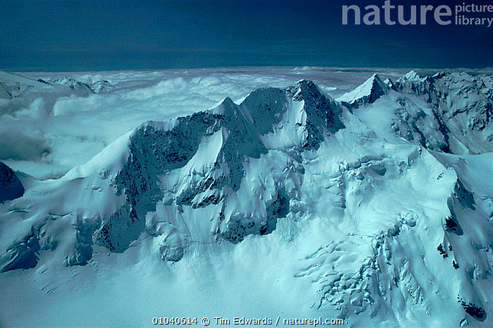 Summit ridges of Mount Cook from Hooker Valley. South Island, New Zealand  ,  MOUNT,SUMMIT,ISLAND,COOK,HORIZONTAL,SNOW,VALLEY,RIDGES,SOUTH,HOOKER,MOUNTAINS  ,  Tim Edwards