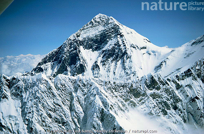 Aerial view of Mt Everest (from Nepalese side) with Lhotse ridge in fore ground, Himalayas, Nepal  ,  Aerial,altitude,ASIA,COLD,Face,HIGHLANDS,himalayas,INDIAN SUBCONTINENT,LANDSCAPES,MOUNTAINS,peak,Range,SNOW,summit  ,  Leo & Mandy Dickinson