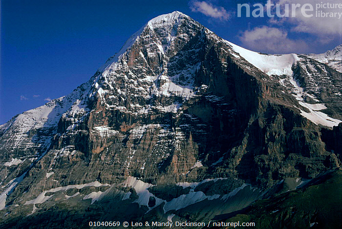 North face of the Eiger, Switzerland, Europe  ,  FACE,NORTH,MOUNTAINS,EIGER,HORIZONTAL,SNOW,EUROPE  ,  Leo & Mandy Dickinson