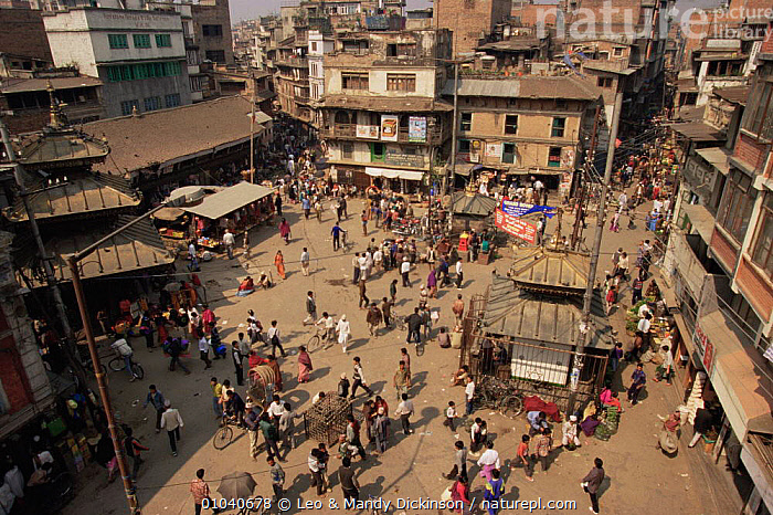 Aerial view of busy street in Kathmandu, Nepal, 1995  ,  ASIA,BUILDINGS,CITIES,INDIAN SUBCONTINENT,PEOPLE  ,  Leo & Mandy Dickinson