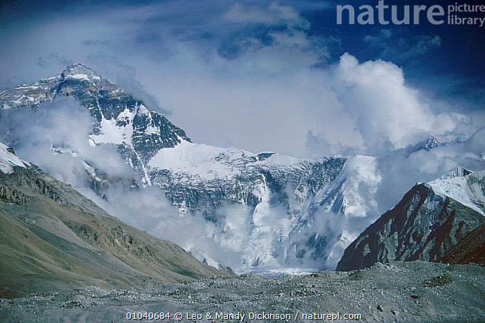 North face of Everest, Rongbuk glacier in foreground, Tibet  ,  ASIA,EAST,EVEREST,FACE,FAR,GEOLOGY,GLACIERS,HIMALAYAS,HORIZONTAL,MOUNTAINS,NORTH,RONGBUK,THE,WEST,CHINA  ,  Leo & Mandy Dickinson