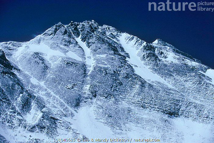 North face of Everest, the Pinnacles and summit to right, Tibet  ,  ASIA,EAST,EVEREST,FACE,FAR,HIMALAYAS,HORIZONTAL,MOUNTAINS,NORTH,PINNACLES,SUMMIT,THE,WEST,CHINA  ,  Leo & Mandy Dickinson