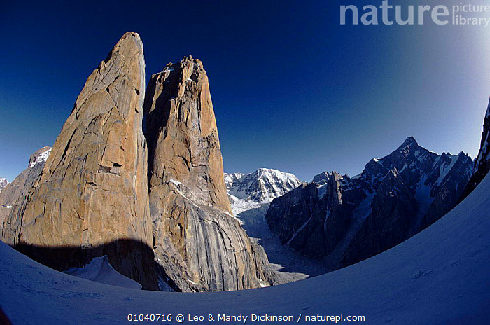 Trango Tower taken from Great Trango, Karakorum, Pakistan  ,  KARAKORUM,FISH EYE,GREAT,TRANGO,HORIZONTAL,ARTY SHOTS,DRAMATIC,TOWER,MOUNTAINS,Asia,INDIAN-SUBCONTINENT  ,  Leo & Mandy Dickinson