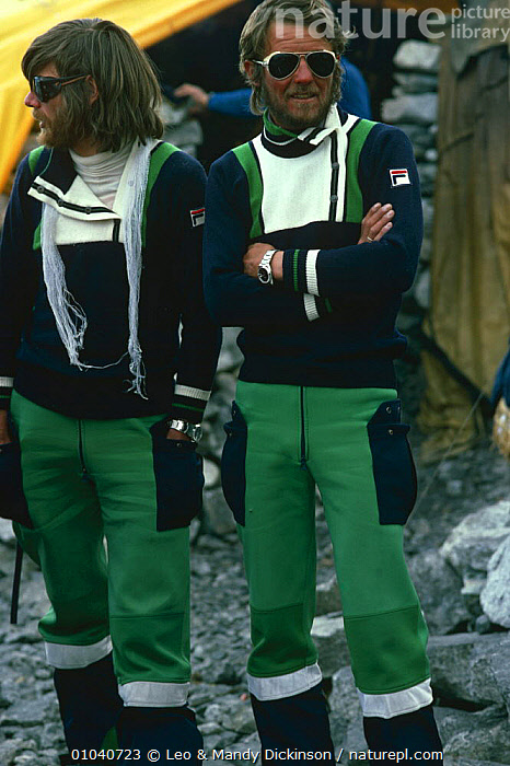Reinhold Messner and Peter Habeler before Everest ascent without oxygen, the first people to do so, 1978.  ,  CELEBRITIES,CELEBRITY,CLIMBERS,CLIMBING,EVEREST,INDIAN SUBCONTINENT,MALES,MOUNTAINEERING,OUTDOOR PURSUITS,PAIR,PEOPLE,PORTRAITS,TWO,VERTICAL,Asia,Plants  ,  Leo & Mandy Dickinson