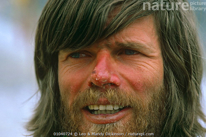 Reinhold Messner after Everest ascent without oxygen, 1978  ,  EXPLORER,FACES,HEADS,MALES,MOUNTAINEERING,MOUNTAINS,PEOPLE,PORTRAITS  ,  Leo & Mandy Dickinson