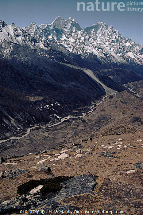 Looking down the Khumbu Valley from Pheriche, Himalayas, Nepal  ,  HIMALAYAS,PHERICHE,VERTICAL,MOUNTAINS,KHUMBU,SNOW,VALLEY,Asia  ,  Leo & Mandy Dickinson