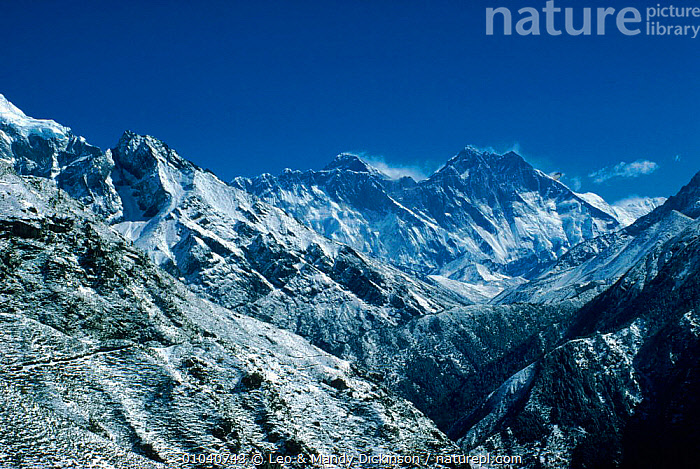 Distant view of Everest showing behind south face of Lhotse, Himalayas, Nepal  ,  HORIZONTAL,EVEREST,MOUNTAINS,SNOW,HIMALAYAS,LHOTSE,Asia  ,  Leo & Mandy Dickinson