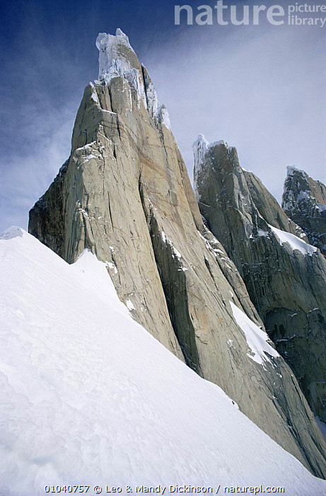 South East ridge of Cerro Torre, Andes, Patagonia Argentina  ,  ALTITUDE,ANDES,LANDSCAPE,MOUNTAINS,PEAKS,RIDGES,ROCKFACE,ROCK FORMATIONS,SLOPES,SNOW,SOUTH AMERICA,SUMMIT,VERTICAL,Geology,SOUTH-AMERICA  ,  Leo & Mandy Dickinson