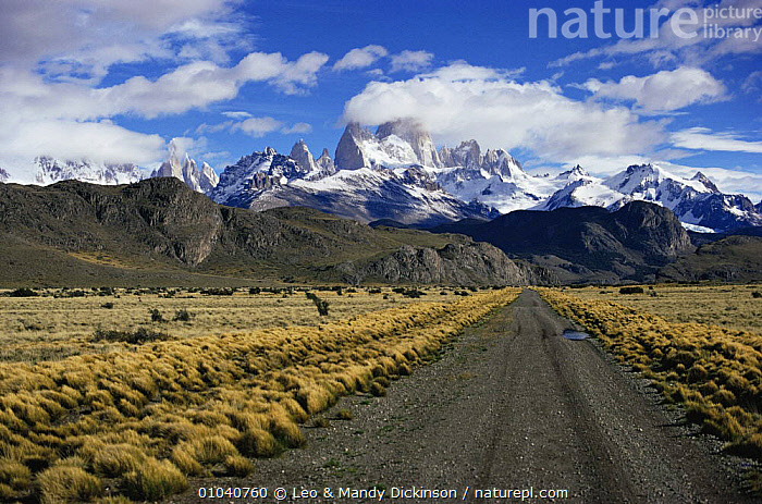Entrance to Los Glaciares NP from Pampa, Fitzroy Range behind, Patagonia, Argentina  ,  ANDES,CLOUDS,FITZROY,LANDSCAPES,MASSIVE,MOUNTAINS,NP,RANGES,ROADS,ROCK FORMATIONS,SNOW,SOUTH AMERICA,TRAVEL,Weather,Geology,National Park,SOUTH-AMERICA  ,  Leo & Mandy Dickinson