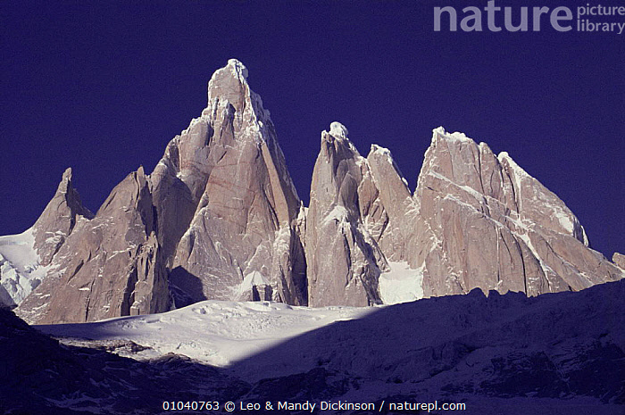 Cerro Torre (3128m) and Torre Egger peaks, Patagonia, Argentina  ,  ALTITUDE,HIGHLANDS,LANDSCAPES,MOUNTAINS,PEAKS,ROCK FORMATIONS,SNOW,SOUTH AMERICA,SUMMIT,Geology,SOUTH-AMERICA  ,  Leo & Mandy Dickinson