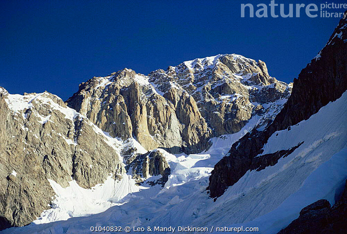 Brouillard Pillars on Mt Blanc, Alps, France  ,  EUROPE,FRANCE,LANDSCAPES,MOUNTAINS,ROCK FORMATIONS,SNOW,Geology  ,  Leo & Mandy Dickinson