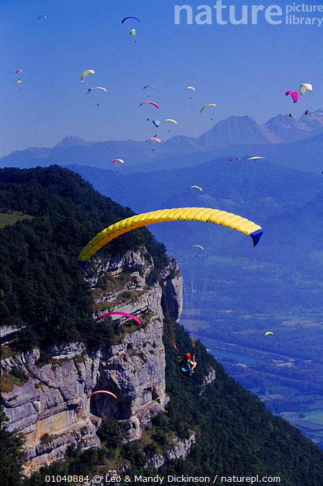 Paragliding festival St Hilaire, France, Europe  ,  FESTIVAL,FLYING,HILAIRE,LEISURE,MOUNTAINS,PARAGLIDING,PEOPLE,ST,Europe  ,  Leo & Mandy Dickinson