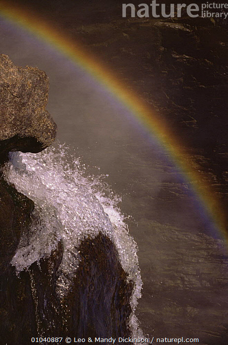 Victoria Falls - water at bottom of falls with rainbow  ,  ABSTRACT,AFRICA,FRESHWATER,RAINBOWS,WATER,WATERFALLS,Weather  ,  Leo & Mandy Dickinson