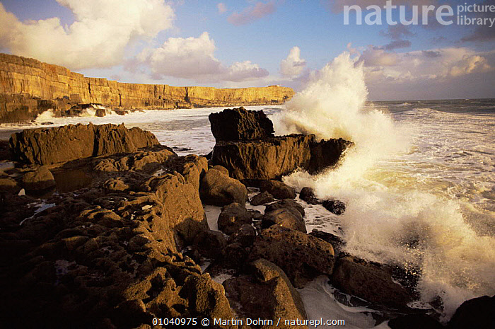 Waves breaking crashing against rocks, Pembrokeshire coast, Wales, UK.  ,  COASTS,EUROPE,LANDSCAPES,UK,WALES,United Kingdom,British, United Kingdom, United Kingdom  ,  Martin Dohrn