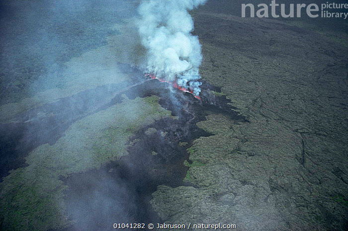 Aerial view of volcanic fissure - the birth of Kimanura volcano, Virunga NP, Democratic Republic of Congo, formerly Zaire  ,  ACTION,ACTIVE,AERIALS,AFRICA,ASH,CENTRAL AFRICA,ERRUPTION,ERRUPTS,HEAT,LANDSCAPES,LAVA,SMOKE,SMOKING,STEAM,VOLCANIC,VOLCANOES,Geology , Bruce Davidson  ,  Jabruson