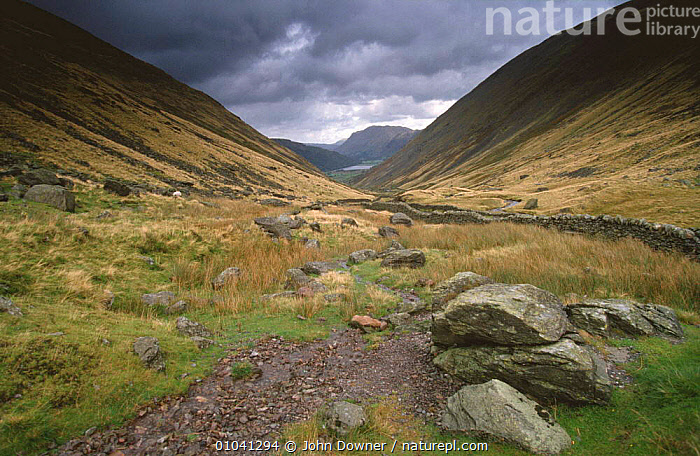Looking down Kirkstone Pass, near Ambleside, Lake District NP, Cumbria, UK  ,  CLOUDS,ENGLAND,EUROPE,HIGHLANDS,LANDSCAPES,MOUNTAINS,NP,PASS,PATHWAY,RESERVE,TRACKS,TRAILS,UK,VALLEYS,United Kingdom,Weather,British,National Park  ,  John Downer