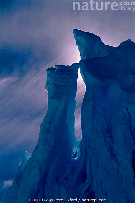 Iceberg, Auster 'EP' rookery, Australian Antarctic Territory, Antarctica  ,  ANTARCTIC,EP,TERRITORY,AUSTRALIAN,OUTSTANDING,ROOKERY,ATMOSPHERIC,BLUE,ICE,VERTICAL,PATTERNS,ICE FORMATIONS,ARTY SHOTS,ICEBERG,AUSTER,Catalogue1  ,  Pete Oxford
