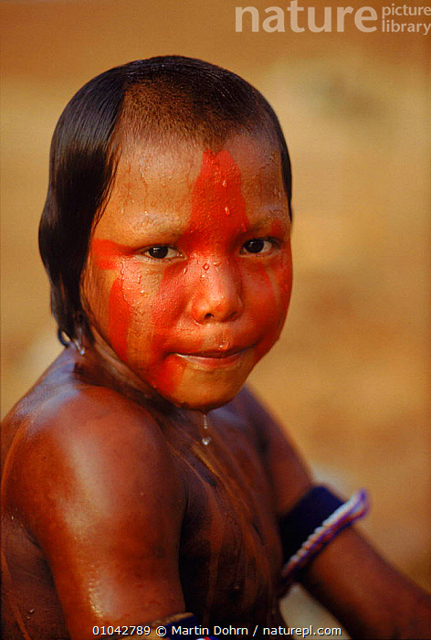 Kayapo Indian boy with body painting. Brazil, South America  ,  CUTE,PAINTING,TROPICAL RAINFOREST,WET,TRIBES,CULTURES,TRADITIONAL,INDIAN,VERTICAL,BODY,PEOPLE,KAYAPO,BOY,SOUTH-AMERICA  ,  Martin Dohrn