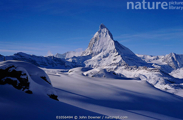Matterhorn in the Alps near Zermatt, Switzerland  ,  ALPS,DOWNER,HORIZONTAL,JD,JOHN,LANDSCAPES,MATTERHORN,MOUNTAINS,SNOW,EUROPE  ,  John Downer