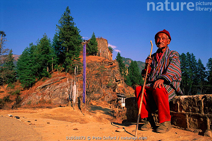 Old man sitting beside ruins of Drukgyel dzong, built 1650 Paro, Bhutan., PEOPLE,PETER,PO,RUINS,MAN,DRUKGYEL,OXFORD,LANDSCAPES,PARO,OLD,HORIZONTAL,DZONG,SITTING,1650,INDIAN-SUBCONTINENT,Asia, Pete Oxford