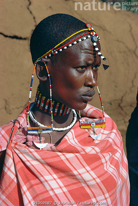 Maasai woman adorned with bead work. Rift Valley. Kenya, East-Africa, CULTURES,JEWELLRY,MALES,MASAI,TRIBE,WORK,CEREMONIES,LANDSCAPES,PEOPLE,TRIBES,BRANCHES,TRADITIONAL,VALLEY,PORTRAITS,FEMALES,Africa,EAST-AFRICA , Bruce Davidson, Jabruson