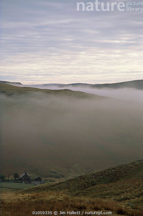 Looking down into Elan valley, covered by mist in Autumn, Mid Wales, UK, COUNTRYSIDE,EUROPE,LANDSCAPES,MIST,UK,valleys,WALES,United Kingdom,British, Jim Hallett