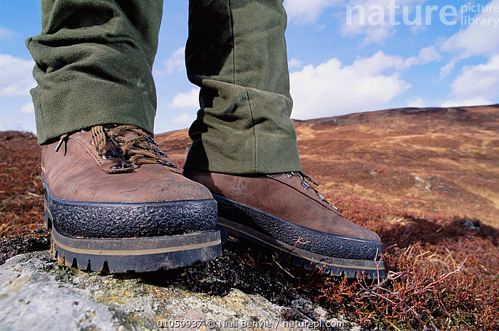 Close-up of walking boots, moorland in Scotland, UK, BOOTS,BRITISH,CLOSE UP,EUROPE,FEET,LANDSCAPES,LEISURE,NB,PEOPLE,SCOTLAND,SHOES,UK,UNITED KINGDOM, Niall Benvie
