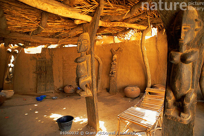Interior of Dogon house with wooden carvings of women, Mali, North Africa, AFRICA,ART,ARTIFACTS,CARVINGS,CULTURES,HOMES,HOUSES,NORTH AFRICA,PEOPLE,SETTLEMENTS,STATUES,TRADITIONAL,TRIBAL,TRIBES,WEST AFRICA,NORTH-AFRICA, Grant McDowell
