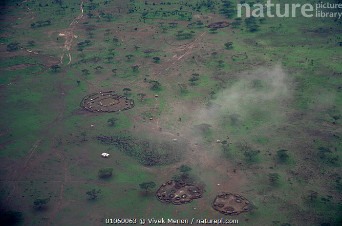 Aerial view of Amboseli NP showing Masai village corrals, Kenya, AFRICA,EAST AFRICA,LANDSCAPES,NP,RESERVE,TRADITIONAL,VILLAGES,National Park,EAST-AFRICA, Vivek Menon