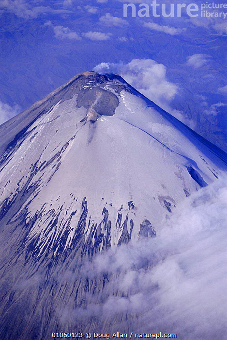 Summit cone of Sangay, Ecuador. Dormant volcano, CLOUDS,LANDSCAPES,SNOW,VERTICAL,VOLCANOES,Weather,Geology, Doug Allan