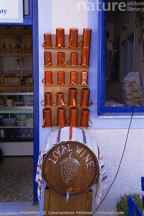 Wine measuring cups of various sizes outside shop for locally produced wine, Alonissos Island (Aegean) Greece, BUILDINGS,drink,DRINKING,EUROPE,GREECE,HARVESTING,INTERESTING,MEDITERRANEAN,shops,TRADE,VERTICAL, Constantinos Petrinos