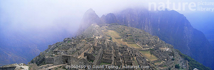 Panoramic view of Machu Picchu, Peru, South America, ANCIENT,ATTRACTION,CIVILISATIONS,CIVILIZATIONS,CLOUDS,CULTURES,INCA,LANDMARK,LANDSCAPES,MIST,MOUNTAINS,OLD,PANORAMIC,SOUTH AMERICA,Weather,SOUTH-AMERICA, David Tipling
