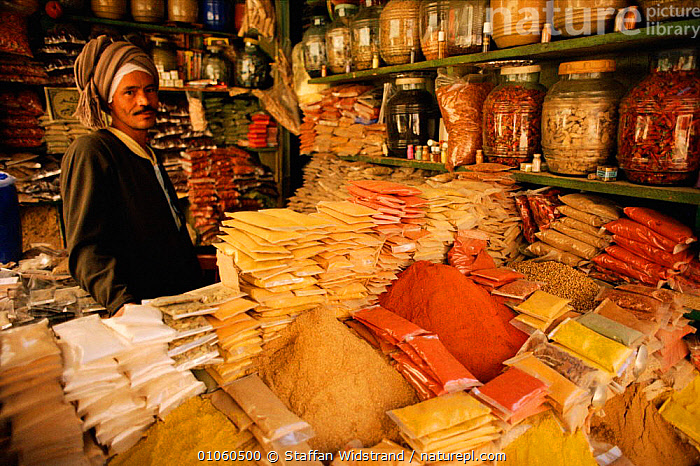 Man selling spices, Luxor, Egpyt., FOOD,SELLING,SPICE,SPICES,STAFFAN,TRADE,MAN,NORTH AFRICA,LUXOR,WIDSTRAND,PEOPLE,EGPYT,HORIZONTAL,SWI,MARKET,MARKETS,AFRICA,NORTH-AFRICA, Staffan Widstrand