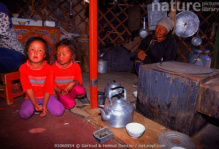 Two girls and elder sitting inside yurt beside kitchen area. Gobi Desert, Mongolia., GOBI,GIRLS,SITTING,DESERT,HOMES,NOMADS,BUILDINGS,FAMILIES,KITCHEN,NEUMANN DENZAU,GERTRUD,NOMADIC,PEOPLE,HORIZONTAL,INSIDE,TRADITIONAL,TRIBES,JUVENILE,YURT,CULTURES,GDE,ASIA, Gertrud & Helmut Denzau