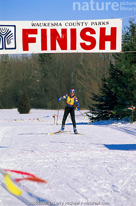 Person crossing finishing line, cross country ski race, Wisconsin, USA, LEISURE,NORTH AMERICA,PEOPLE,SNOW,SPORT,USA,VERTICAL,WINTER, Larry Michael