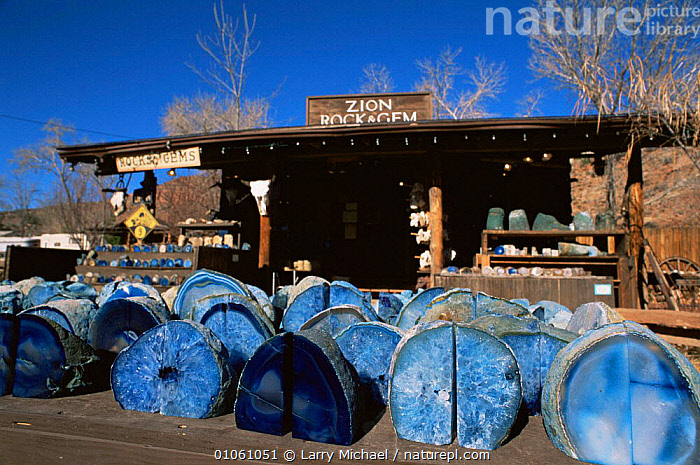 Semi-precious stones and glass for sale at Zion NP, Springdale, Utah, USA, BUILDINGS,gems,LANDSCAPES,MINERALS,mining,NORTH AMERICA,NP,ROCKS,TOURISM,TRADE,USA,National Park, Larry Michael