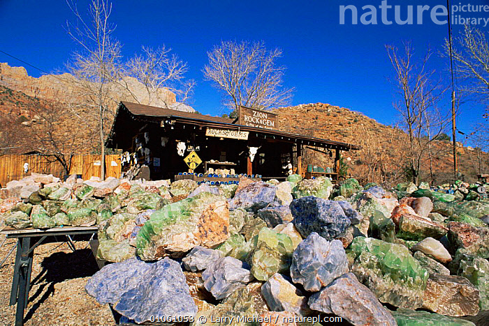 Semi-precious stones and glass for sale at Zion NP, Springdale, Utah, USA, BUILDINGS,gems,MINERALS,mining,NORTH AMERICA,NP,TOURISM,TRADE,USA,National Park, Larry Michael