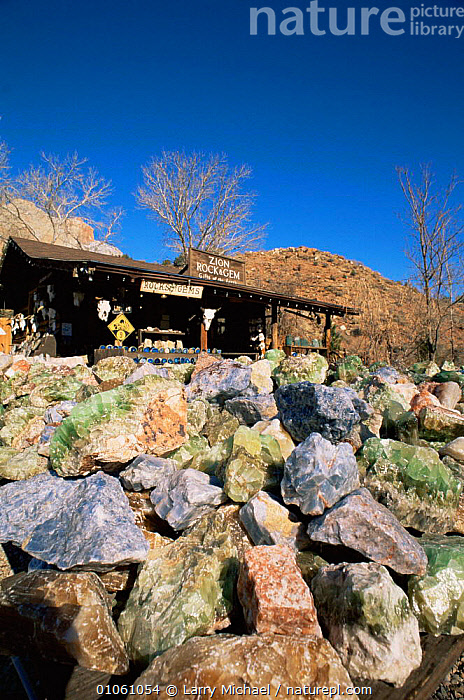 Semi-precious stones and glass for sale at Zion NP, Springdale, Utah, USA, BUILDINGS,gems,MINERALS,mining,NORTH AMERICA,NP,TOURISM,TRADE,USA,VERTICAL,National Park, Larry Michael