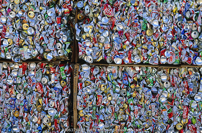 Aluminium cans for recycling, USA, ENVIRONMENTAL,NORTH AMERICA,PATTERNS,RECYCLING,REFUSE,USA, Larry Michael