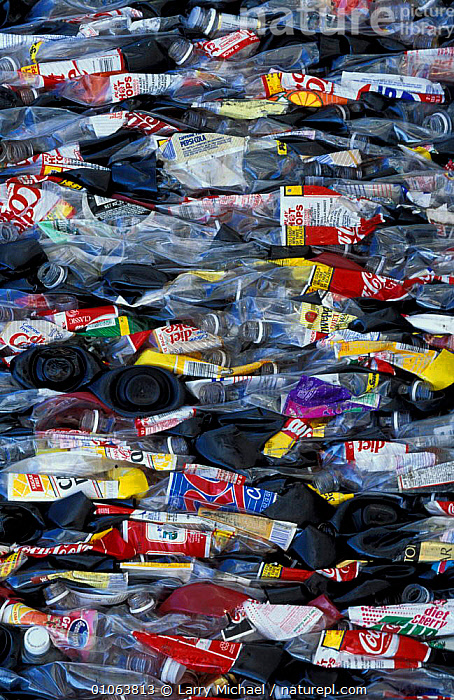 Plastic bottles compressed for recycling, USA, ENVIRONMENTAL,PLASTICS,LAWRENCE,REFUSE,PATTERNS, Larry Michael
