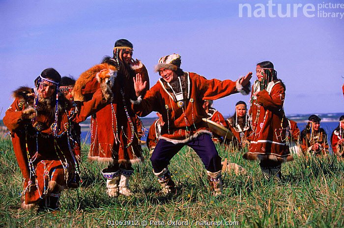Koryak dancers in ceremonial dress, Ossora, Karaginsky Kamchatka Peninsula, Russia, CLOTHING,HORIZONTAL,KAMCHATKA,OXFORD,DRESS,DANCERS,KARAGINSKY,CERMONIAL,COLOURFUL,DANCING,FESTIVE,NATIVE,PENINSULA,PEOPLE,PO,TRADITIONAL,DANCE,OSSORA,PETER,MUSIC,CULTURES,FESTIVAL,INSTRUMENTS,TRIBES,KORYAK,CIS, Pete Oxford