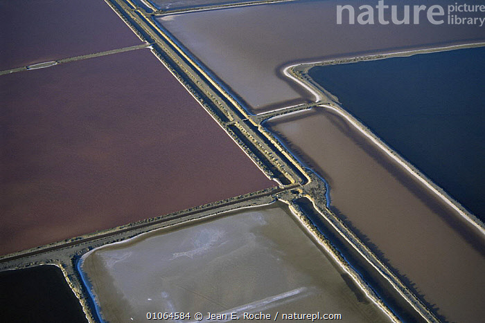 Aerial view of Aigues-Mortes salt pans, Camargue, France, ABSTRACT,AERIALS,ARTY SHOTS,CROPS,EUROPE,FRANCE,HORIZONTAL,LANDSCAPES,PATTERNS,SALT, Jean E. Roche