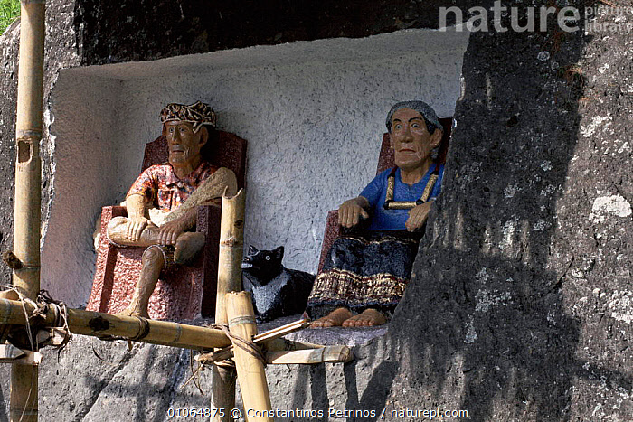 'Tau Tau' effigies, 'small person'/'person like', Tana Toraja, C Sulawesi, Indonesia NB thought to be receptable of the ghost of the deceased. They guard the cliffside graves & have often been stolen by international 'art' dealers., TANA,CULTURES,GUARD,TORAJA,CLIFFSIDE,CONSTANTINO,GRAVES,TAU,TRIBES,DEATH,TRADITIONAL,ART,EFFIGIES,GHOST,PETRINOS,CENTRAL,FIGURES,HORIZONTAL,SOUTH EAST ASIA,CPE,DECEASED,ARTIFACTS,ASIA,SOUTH-EAST-ASIA,INDONESIA, Constantinos Petrinos