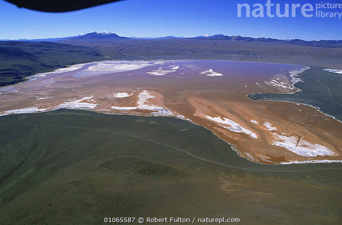 Aerial view of Salar de Uyuni over salt lake, Bolivia, South America 2000, AERIALS,DRY SEASON,HIGHLANDS,LAKES,LANDSCAPES,MOUNTAINS,SALT,SOUTH AMERICA,WATER,WETLANDS,SOUTH-AMERICA, Robert Fulton